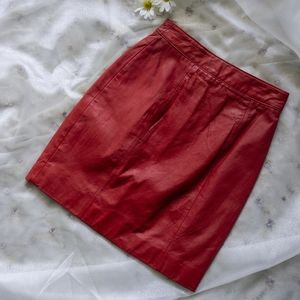 Vibrant vintage red leather skirt